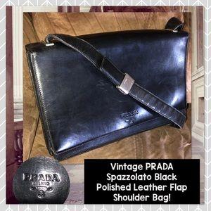 Vintage PRADA Spazzolato Polished Leather Flap Bag
